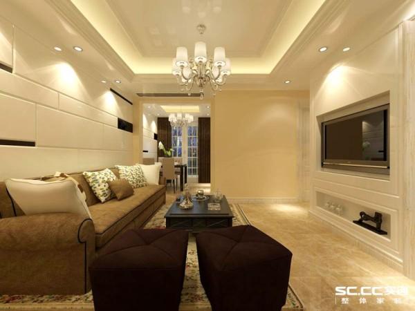沙发背景墙和电视背景墙相呼应,采用了一些线条造型拉伸客厅空间。