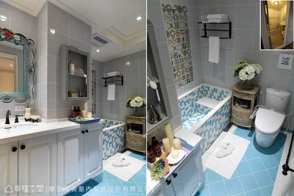 水蓝色地砖与灰色壁砖搭配的卫浴空间,在童趣缤纷外保留男主人喜爱的方整利落。