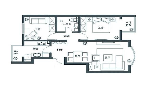 春江家园102平三居室装修图集-户型图