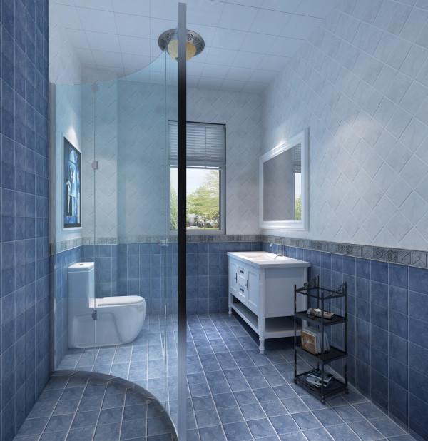 深浅蓝色的小规格复古墙地砖朝相呼应,全套的白色整体洁具,给人呈现一个轻快干净的洗浴空间。