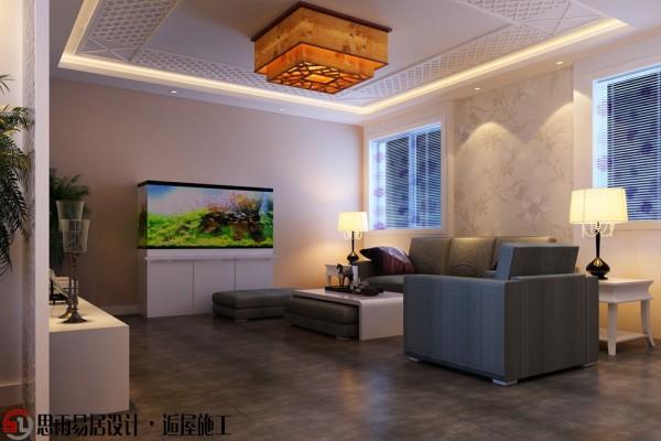 因为客厅改到此空间,整体感觉上会有些暗,不是那么的明亮。与之对应,在这里设计鱼缸通过光线互补提升空间亮度,并且对墙面仍然采用单纯的素色,在最简单中寻找品质。