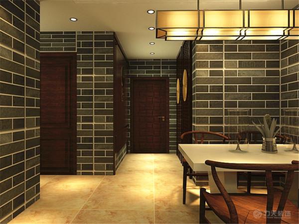 本案中选择了复古青砖作为背景墙,搭配中式雕花的木质背景墙,沙发背景墙则选择大理石来搭配,使空间并不单一,家具则选择木质传统的中式家具,使客餐厅显得特别高贵和沉稳,