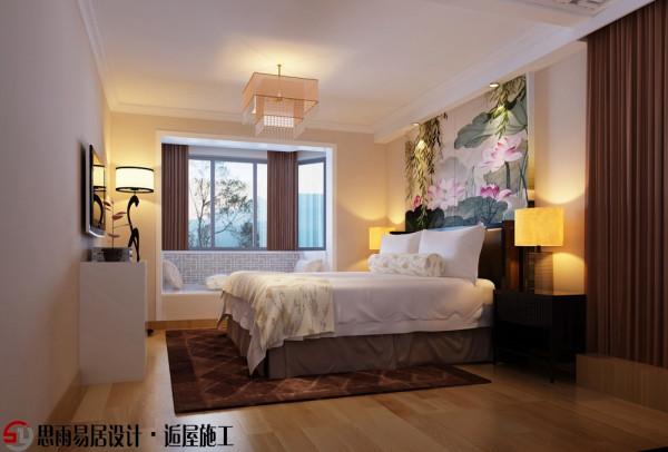 这是卧室的床头背景,结合整体空间,因为在床头柜对应过去的位置我设计了两组小衣柜,所以在这里为了使得整体空间感觉更加宽敞,床头使用了墨香味的壁纸,更加互应风格与主题。