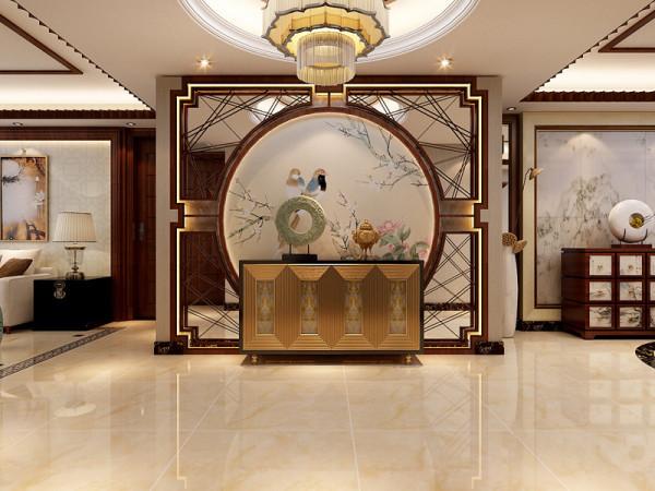 这里是玄关墙的装修设计效果,玄关墙用玻璃镜做妆点,整个客厅光线增强,玄关在古代人民心中是聚齐、纳财的地方。
