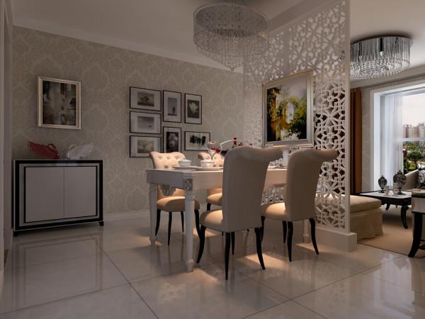 餐厅、客厅的整体装修效果展示,中间做隔断处理。白色的木质隔断非常的大气和简历的桌子配在一起很合适。