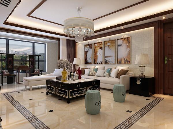现代中式风格客厅中摆放现代的沙发为布艺沙发,更招年轻人的喜欢O(∩_∩)0