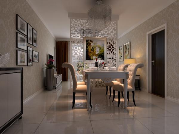墙面痛贴壁纸,白色踢脚线处理,墙面大花型米色壁纸。地砖采用白色的抛光砖,非常的耐用。