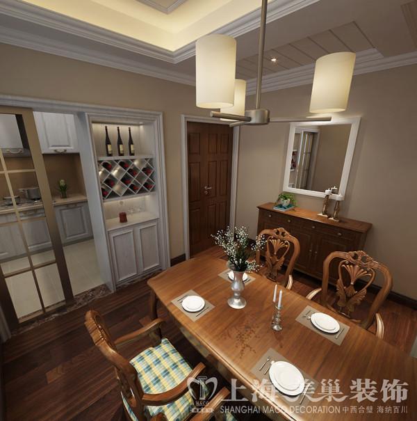 蓝堡湾三室两厅139美式乡村装修案例——餐厅效果图