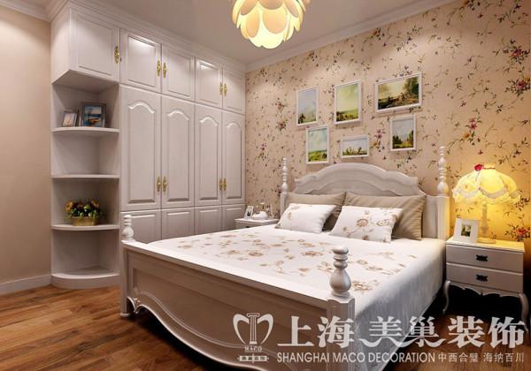 永威翡翠城装修90平两室两厅美式乡村案例效果图——卧室效果图