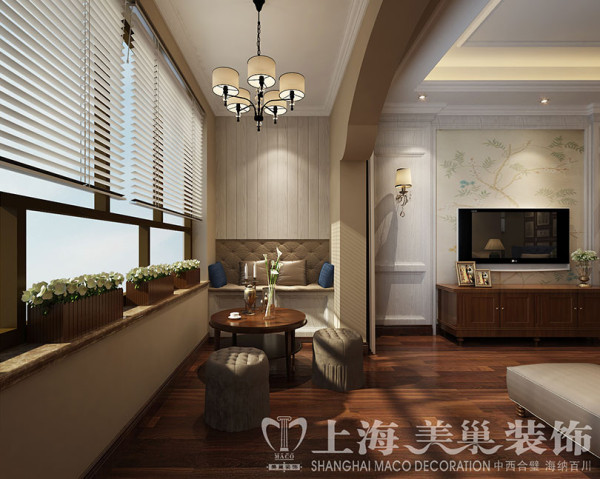 蓝堡湾装修139平三室两厅美式乡村效果图案例——客厅休闲区