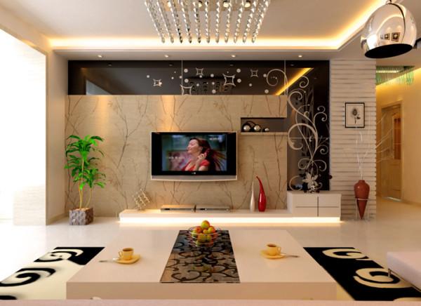 白色的电视柜很好的和空间结合起来