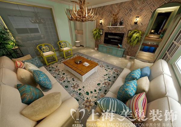 郑州永威翡翠城90平两室两厅美式混搭装修案例效果图——客厅全景布局