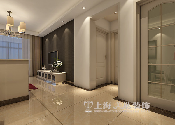 上东城1号楼90平两室两厅现代简约风格装修效果图--电视背景墙