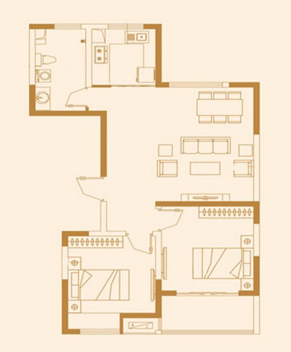 永威翡翠城装修90平两室两厅美式混搭效果图案例——户型方案平面图