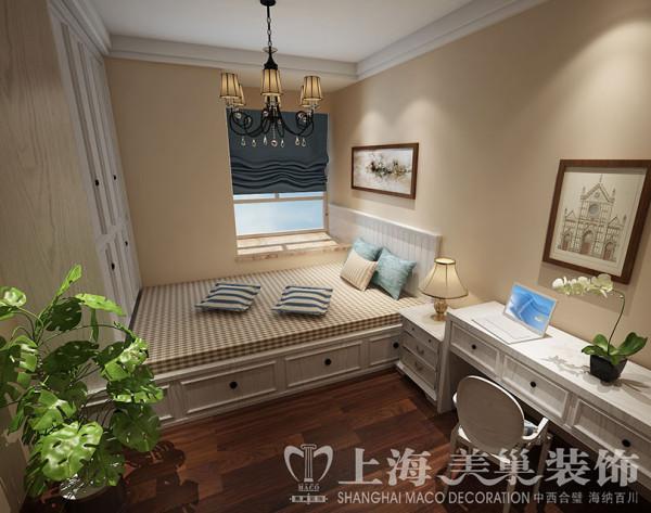 蓝堡湾美式装修139平三室两厅效果图案例——客房效果图