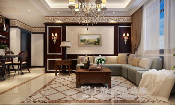 东方国际广场89平两室两厅新古典装修效果图--沙发背景墙