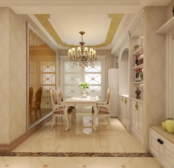 餐厅采用白色欧式经典造型,白色的卡座设计加上镂空设计的餐桌,浪漫又温馨,打掉墙做成酒柜,美观又实用。餐厅背景墙采用香槟金黄色,很好的刺激了食欲。