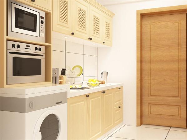 厨房也是采用木色整体橱柜搭配色调,使得简洁明快