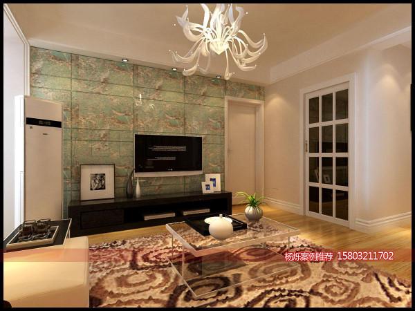 电视墙采用大理石铺贴,显得大气而且有内涵,颜色采用绿色点缀,是整个空间的一大亮点,整体墙面采用暖色调,使整个空间看起来温馨又温暖。
