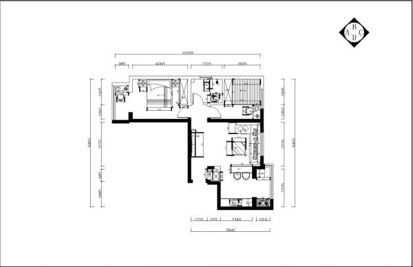 本次案例设计的是顺和园两室一厅一厨一卫79㎡户型。首先从整体上看户型成L型。此次户型面积较小,各个空间比较紧凑,每个空间都有窗,采光和通风都很好。