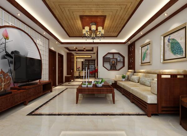这里是客厅整体的设计效果展示,客厅吊顶采用石膏板和桑拿板做拼贴造型,非常的美观。