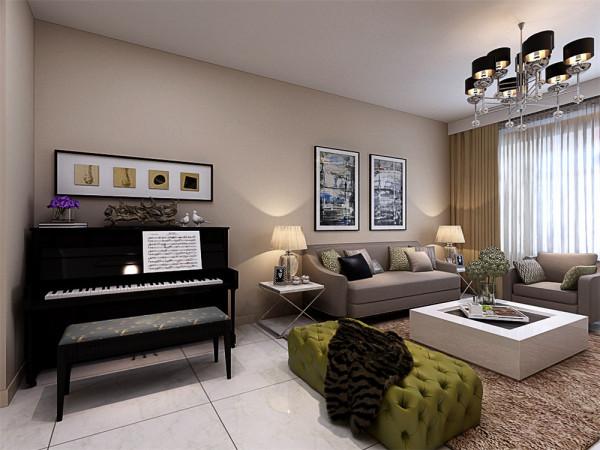 沙发背景墙则采用两幅现代的画作作为装饰,在客厅的电视背景墙以及餐厅的背景墙俩处设计成一个整体的造型,采用统一的材质以及玻璃、壁纸进行装饰。