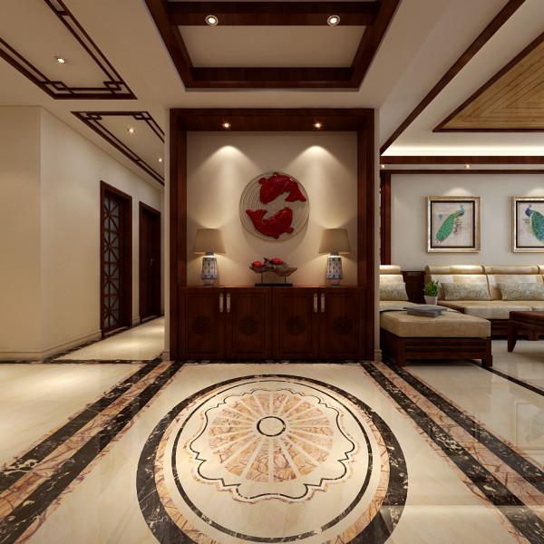 这里是入户的玄关位置,本位置的设计也是设计的一个重点,中式风格中玄关位置讲究聚气纳财,在装修设计时用中式的柜子搭配墙面装饰非常的大气。