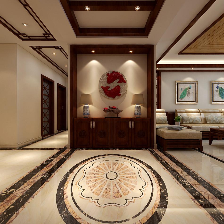 中式风格中玄关位置讲究聚气纳财,在装修设计时用中式的柜子搭配墙面图片