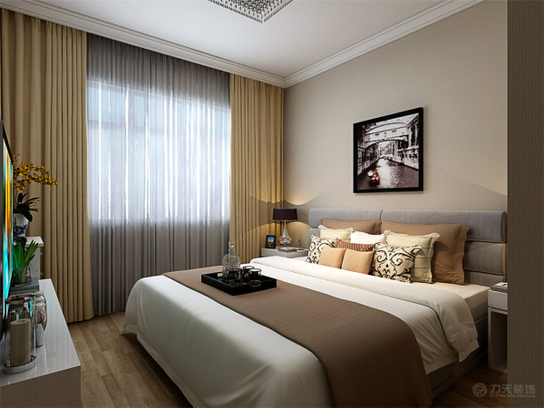 卧室则设计得更加的简洁有趣味,复合地板的铺装以及石膏线的圈边都非常的简洁大气。