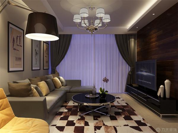 配以筒灯的装饰,更加明确的在吊顶上区分了客厅与餐厅的空间。电视背景运用了木地板上墙,再配以同色系的电视柜使电视背景看起来充实又不混乱,沙发背景挂画,简洁实用。