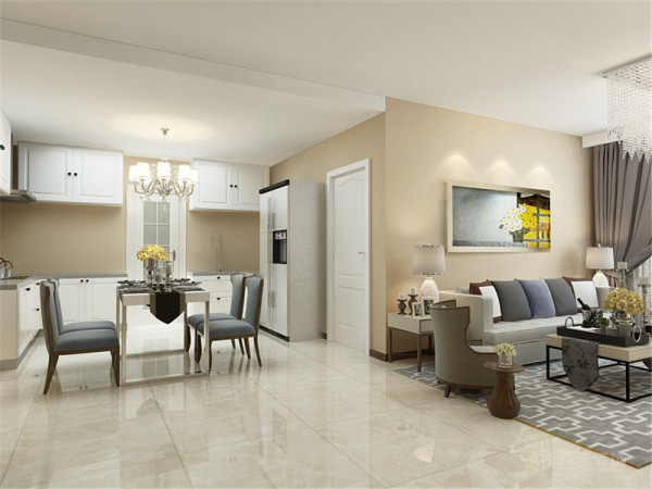 客厅设计采用简约明朗的线条,但是以暖色调为主,特别温馨,整体颜色以简洁的咖色为背景,只有沙发组合几个大件是中灰色的,在客厅里做一个色彩对比,显出现代简约的格调。