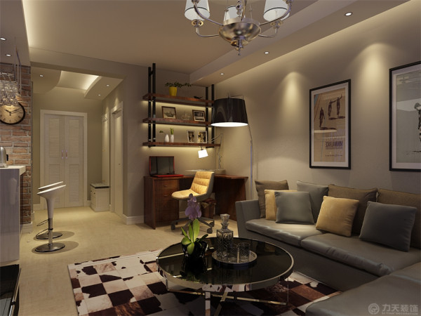 进入入户左手边就是客厅,厨房是封闭式厨房,增加区域与彩光,外面加吧台增加生活乐趣;客厅做了有意思的同方向灯池造型设计。