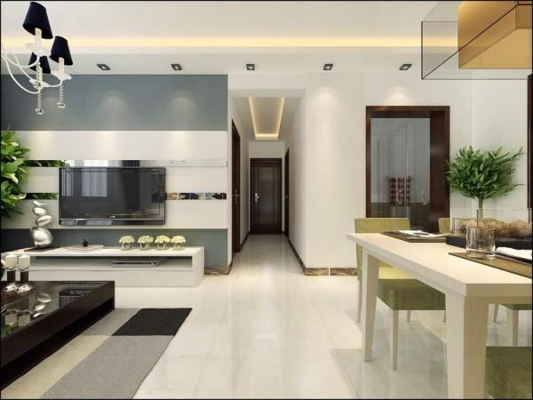 通透亮丽地砖通铺,客厅和餐厅明确的区域划分