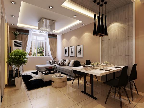 沙发背景墙是以三幅画为主,整个空间的软装搭配的较为时尚,抱枕来作为沙发上面的一抹亮点。餐区这一块是以木地板从墙到顶的一个延伸做了一个简单而又美观的造型,整个起居室是以暖色为主