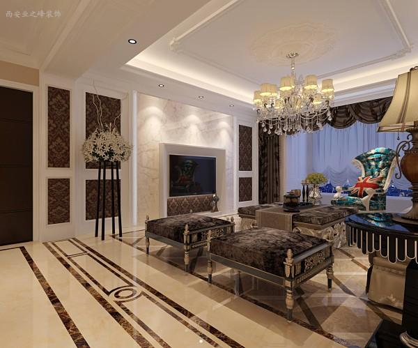 本案设计为 欧式风格,主要是指西洋古典风格。这种风格强调以华丽的装饰、浓烈的色彩、精美的造型达到雍容华贵的装饰效果。欧式客厅顶部喜用大型灯池,并用华丽的枝形吊灯营造气氛。