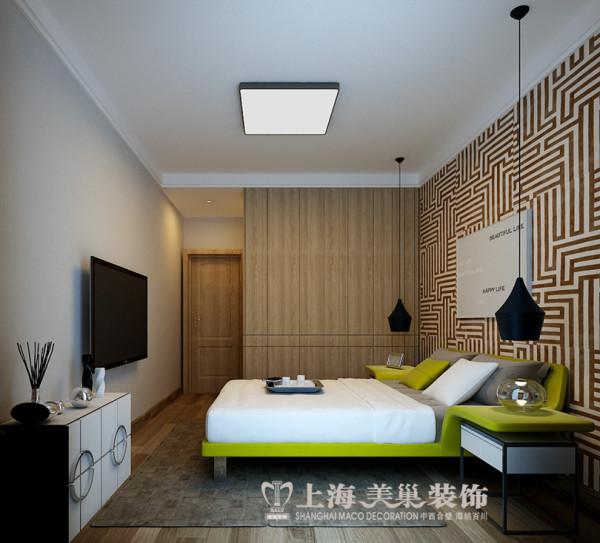 维也纳森林120平装修北欧风格三室两厅样板间效果图——卧室全景效果图,