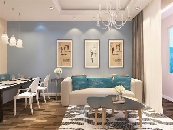 业主是一对二十多岁的年轻夫妇 所以定位为现代简约风格,在客厅我们选择了蓝色系乳胶漆来做沙发背景,使整个空间温馨又不失时尚的小清新的感觉