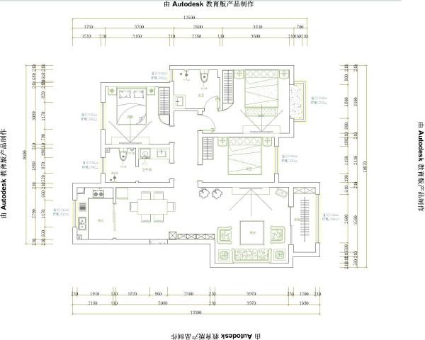 学府佳苑122平装修方案图集-户型图