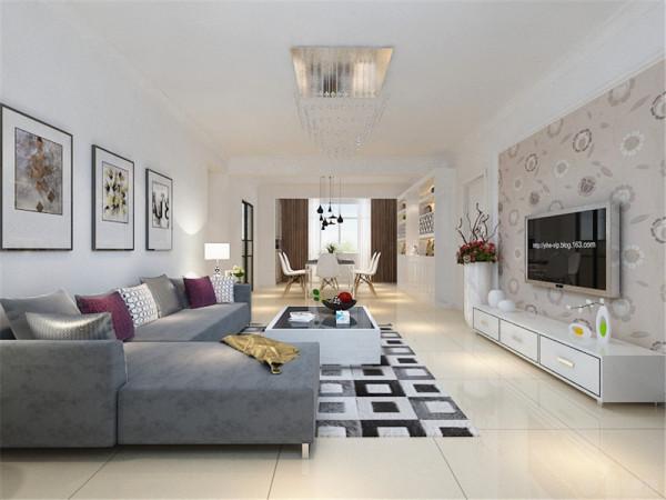 沙发线条简约流畅,色彩对比强烈,且具有完整的功能性。沙发背景墙上的挂画很好的表现出强烈的现代感与时尚的活力,电视背景墙采用了石膏线圈边内嵌壁纸的造型,与整个空间相协调。