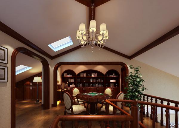二楼休闲区:休闲区和书房基本属于一个空间中间有一个装饰垭口作为隔断,顶面根据本身的建筑结构简单的用了木质的梁做了造型,中间用吊灯做修饰,简单简洁大方。