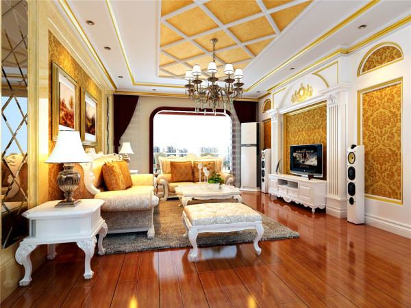 欧式风格强调以华丽的装饰、浓烈的色彩、精美的造型达到雍容华贵的装饰效果。本案例吊顶采用大型灯池,且客厅顶部中央用交叉石膏线条营造气氛。垭口上半部做成半圆弧形。