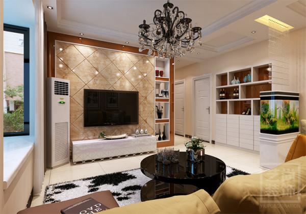 郑州锦艺国际华都博郡B2户型,三室两厅87平方样板间装修方案,客厅电视背景墙装修效果图
