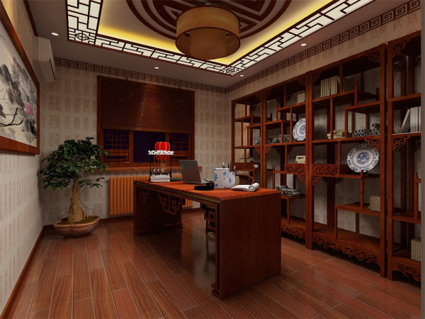 把传统的结构形式通过重新设计组合以另一种民族特色的标志符号出现。例如,厅里摆一套明清式的红木家具,墙上挂一幅中国山水画等,传统的书房自然烧不来书柜、书案以及文房四宝