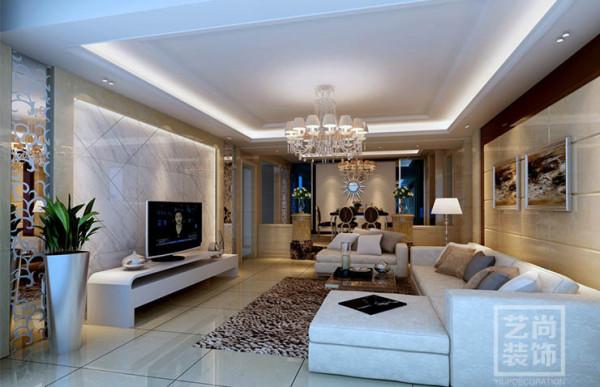 郑州望湖花园135平方三室两厅简欧风格样板间装修效果图