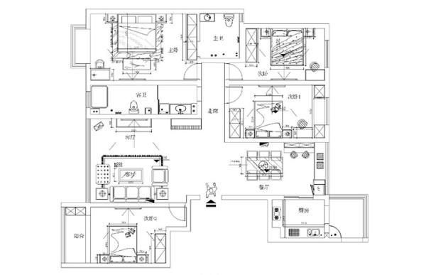 检察院家属院装修180平方四室两厅户型图