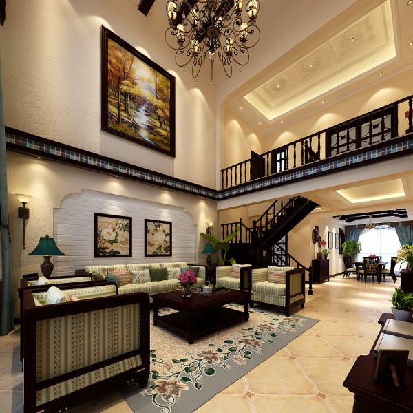 国赫澜山300㎡ 美式装修效果图——客厅装修效果图