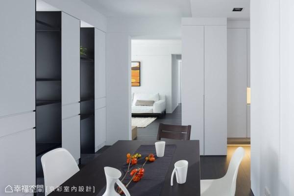 视野及光线延展的张力是本区的重点,拿掉卧房与餐厅间的隔间墙后,光线即自由流动于空间内部。