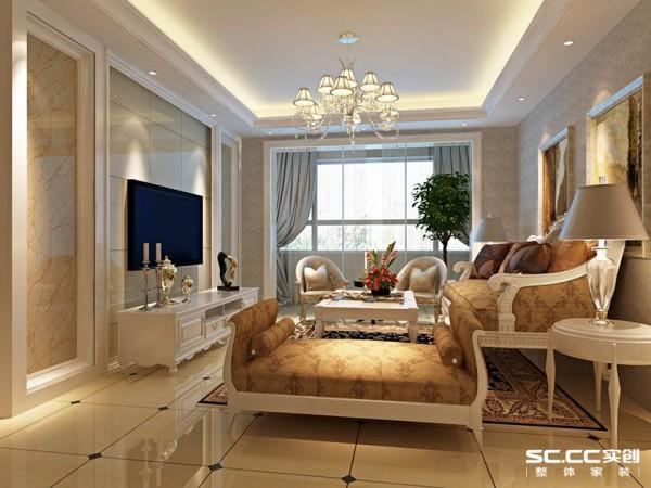 地面拼花的的地砖铺设,墙面电视墙以地砖上墙的设计,使电视墙和地面完美结合,大气而又简洁。