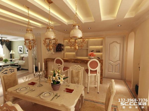 餐厅顺应业主对红酒柜的需求,在厨房一侧墙面打造了一个收纳柜,可根据业主需求灵活变换使用。餐厅背景墙沿袭客厅的线条元素,对称的格局让空间简约不失贵气。