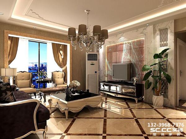 客厅电视背景墙采用大面积石材加上微晶石,并将收纳视听器材主机空间以相同材质设计在下方,配以古典意象的多层次线板及特定挑选的石材灯饰,提升绝佳的古典氛围